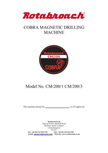 Rotabroach Cobra User Manual - Rapid Welding and Industrial ...
