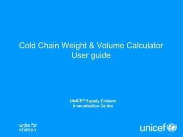 How to use the Calculator - Unicef