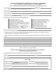 Conditional Use Application - Town of Waitsfield, Vermont