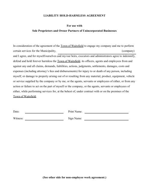 liability hold-harmless agreement - Town of Waitsfield, Vermont