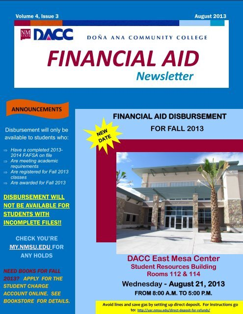 Nmsu Financial Aid >> Dacc Financial Aid Scholarships August Newsletter