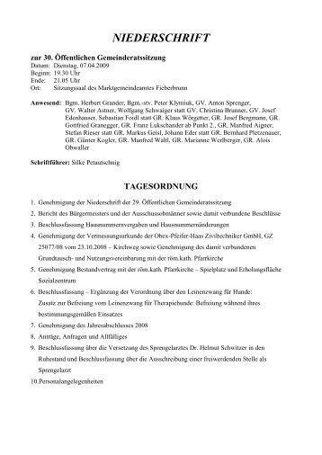 NIEDERSCHRIFT - Fieberbrunn