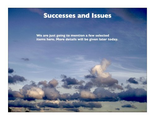 Overall Successes and Issues - cmmap