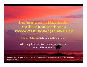 New insights on the Madden-Julian Oscillation from ... - cmmap