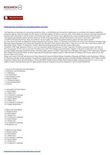 Automobile Fuel Tank Industry