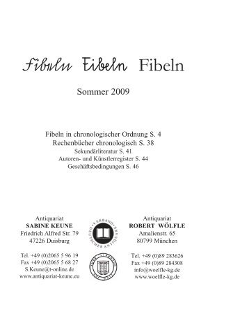 Fibeln Fibeln Fibeln - Antiquariat Robert Wölfle