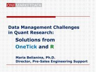 Solutions from OneTick and R - R/Finance 2013