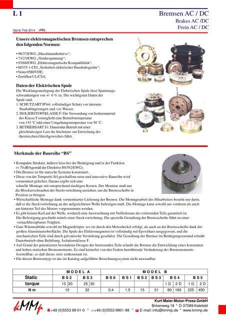 Bremsen Ac Dc L 1 Kurt Maier Motor Press Gmbh