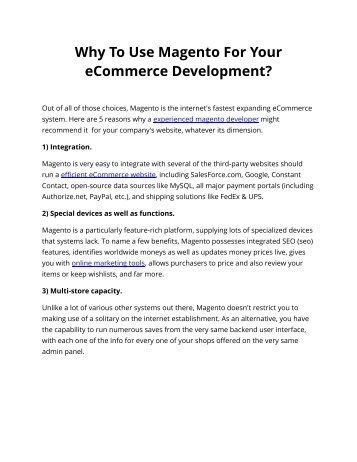 Why To Use Magento For Your eCommerce Development?