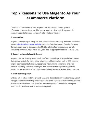Top 7 Reasons To Use Magento As Your eCommerce Platform