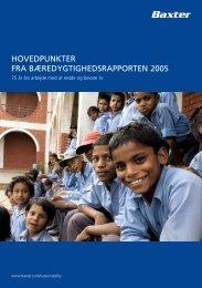 hovedpunkter fra bæredygtighedsrapporten 2005 - Baxter ...