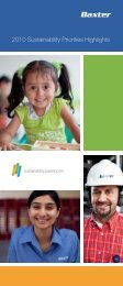 2010 Sustainability Priorities Highlights - Baxter Sustainability Report