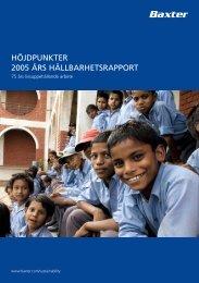 höjdpunkter 2005 års hållbarhetsrapport - Baxter Sustainability Report