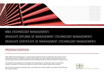 MBA (TECHNOLOGY MANAGEMENT) GRADUATE DIPLOMA OF ...