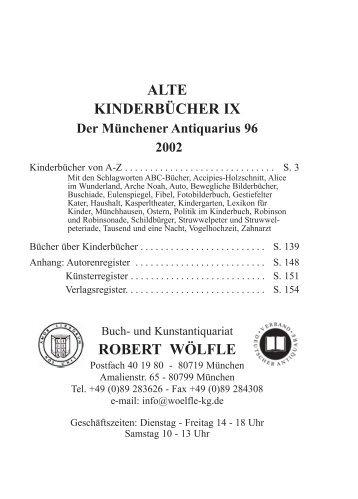 ALTE KINDERBÜCHER IX ROBERT WÖLFLE - Antiquariat Robert ...