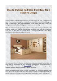 Idea to Picking Bedroom Furniture for a Modern Design