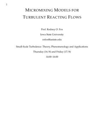 micromixing models for turbulent reacting flows - GDR-Turbulence