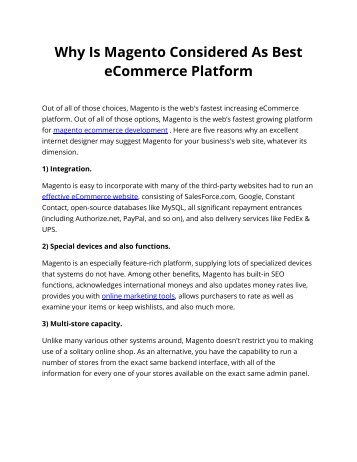 Why Is Magento Considered As Best eCommerce Platform