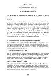 Tagesthema vom 16. März 2003 P. Dr. Karl Wallner ... - Lainzer Kreis