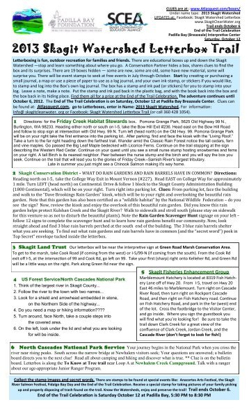 2013 Skagit Watershed Letterbox Trail - Skagit Valley Food Co-op