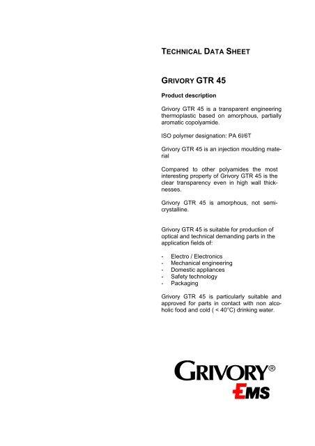 TECHNICAL DATA SHEET GRIVORY GTR 45