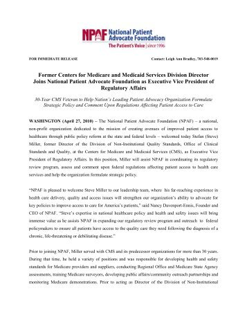 View NPAF Press Release - National Patient Advocate Foundation