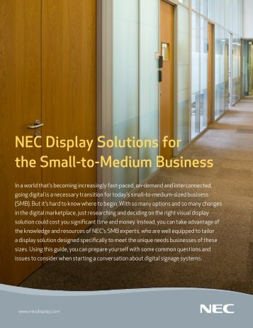 NEC Display Solutions for the Small-to-Medium Business