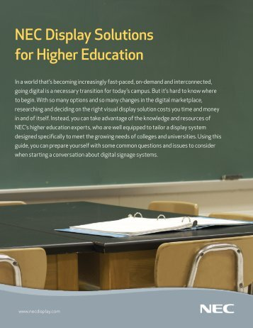 NEC Display Solutions for Higher Education