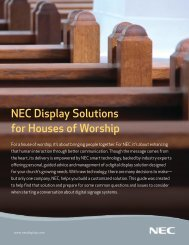 NEC Display Solutions for Houses of Worship