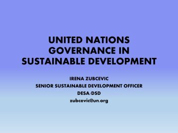 Sustainable development governance from Rio 1992 to Rio+20