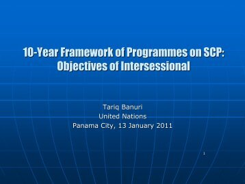 10-Year Framework of Programmes on SCP: Objectives of ...