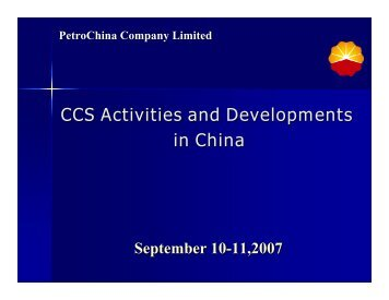 CCS Activities and Developments in China - United Nations ...