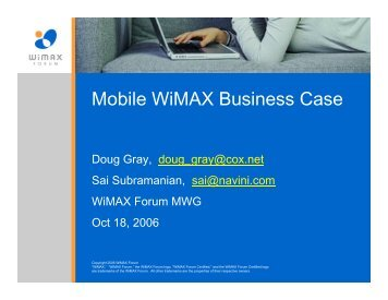 Mobile WiMAX Business Case - Mobius Consulting