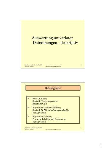 Auswertung univariater Datenmengen - deskriptiv
