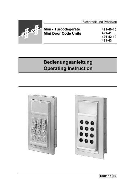 Bedienungsanleitung Operating Instruction - Ikon