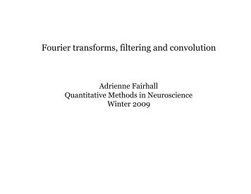 Fourier transforms, filtering and convolution