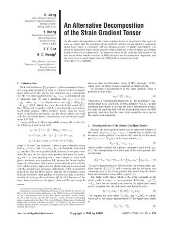 An Alternative Decomposition of the Strain Gradient Tensor