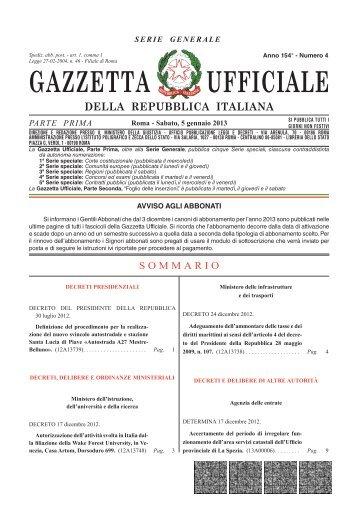 Gazzetta Ufficiale n. 4 del 5 gennaio 2013 - Il Sole 24 ORE