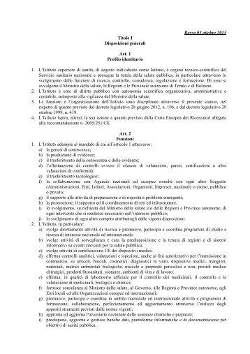 Bozza 03 ottobre 2013 Titolo I Disposizioni generali ... - Il Sole 24 ORE