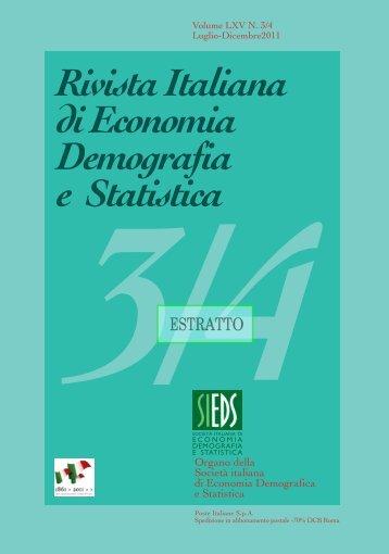 Rivista Italiana di Economia Demografia e Statistica 3/4 - Sieds