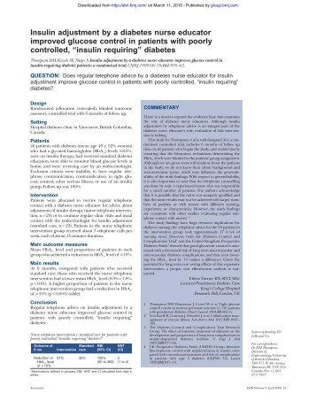 Insulin adjustment by a diabetes nurse educator improved glucose ...