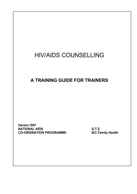 Hiv aids counselling manual