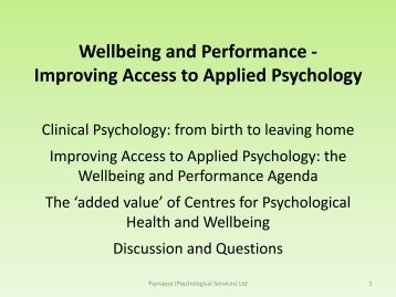 Improving Access to Applied Psychology - Management Advisory ...