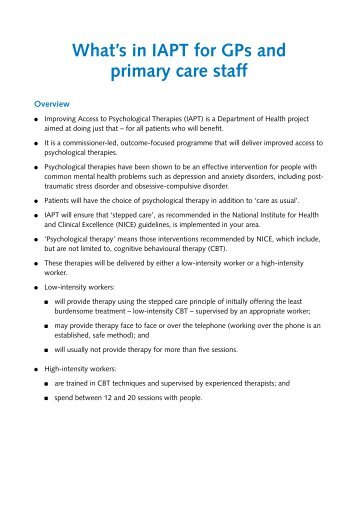 What's in IAPT for GPs and primary care staff - Iapt.nhs.uk