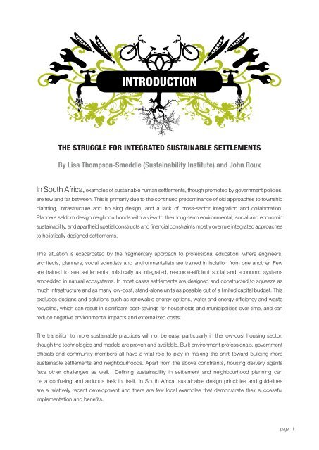 the struggle for integrated sustainable settlements