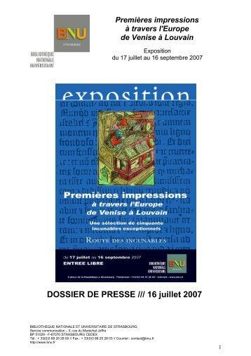 DOSSIER DE PRESSE /// 16 juillet 2007 - Bibliothèque nationale et ...