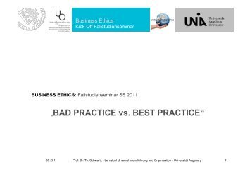 """BAD PRACTICE vs. BEST PRACTICE"" - WiWi - Universität Augsburg"