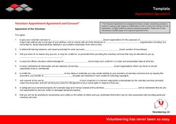 Appointment Agreement Template - Volunteering Qld