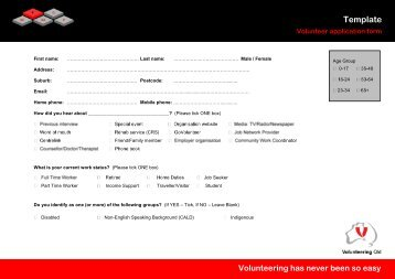 volunteer application form template