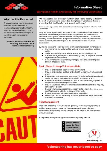 Workplace Health and Safety for Involving ... - Volunteering Qld